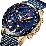 LIGE - Reloj de pulsera para hombre, de silicona, con cronógrafo, esfera de aleación, color negro, azul (B Blue), 8.07