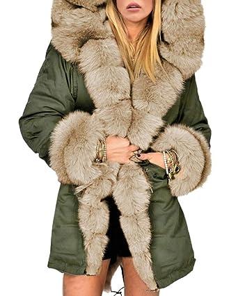 XQS Mens Winter Coat Warm Faux Fur Lined Hoodie Jacket Outwears