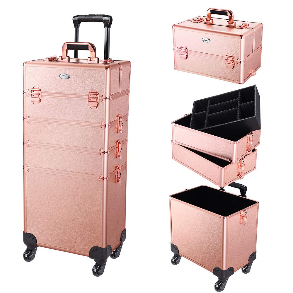 AW 4 in 1 Portable Rolling Makeup Train Case Trolley Cosmetic Box Organizer Travel Case Aluminum Frame Lockable