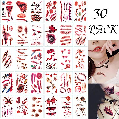 Scar On Face Halloween (30 Sheet Halloween Face Fake Scar Temporary Tattoos , Halloween Zombie Makeup Kit for Adults Kits, Vampire Bite Makeup Waterproof Fake Blood Tattoo for Halloween Party Cosplay)