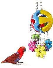 Chytaii Jouet à Mâcher Suspendu pour Oiseau Perroquet Ara avec Fleurs et Clochette en plastique Multicolore