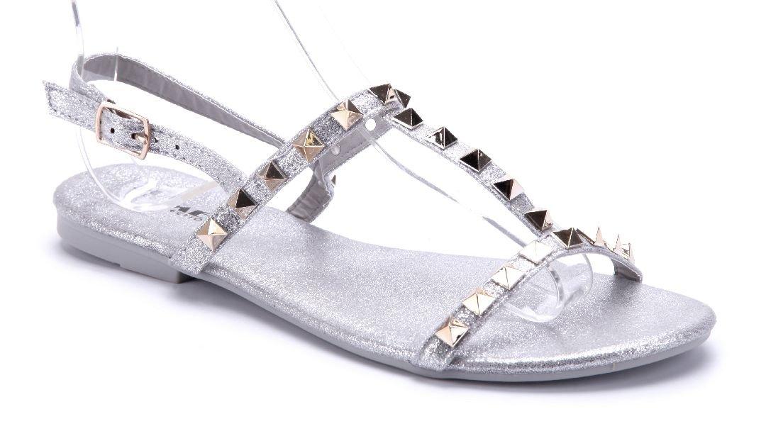 Schuhtempel24 Damen Schuhe Sandalen Sandaletten Flach Nieten Grau