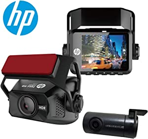 HP F660G Dual Dash Cam for Cars Front and Rear with 1080P Full HD, Super Night Vision with, Parking Mode, Ultra-Wide Angle Lens, HDR, Built-in GPS, Loop Recording and Emergency Recording