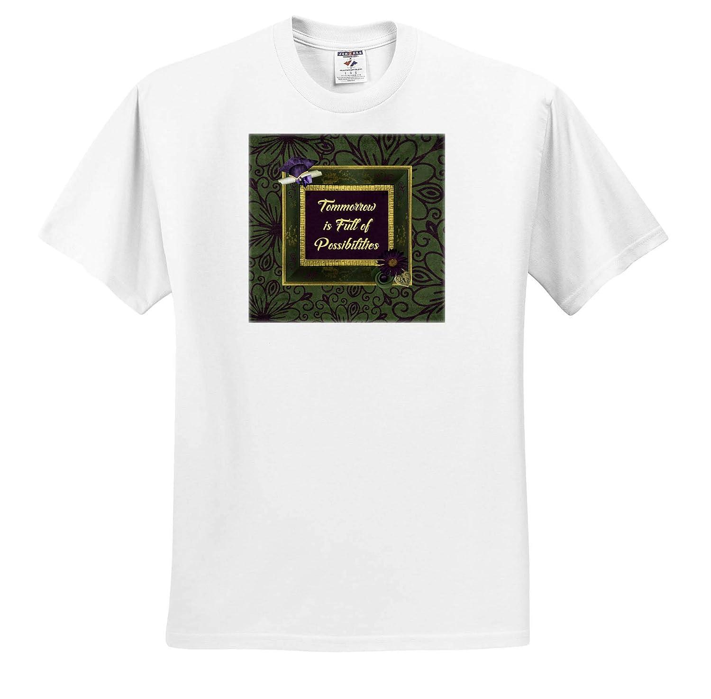 Purple Diploma Frame Green Cap 3dRose Beverly Turner Graduation Design T-Shirts Tomorrow is Full of Possibilities