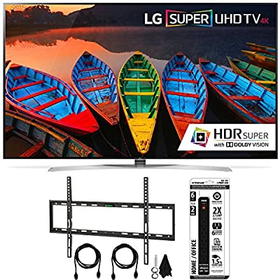 LG 65UH9500 65-Inch Super UHD 4K Smart TV w/ webOS 3.0 Flat Wall Mount Bundle includes Television, Flat Wall Mount Ultimate Kit and Power Strip with Dual USB Ports