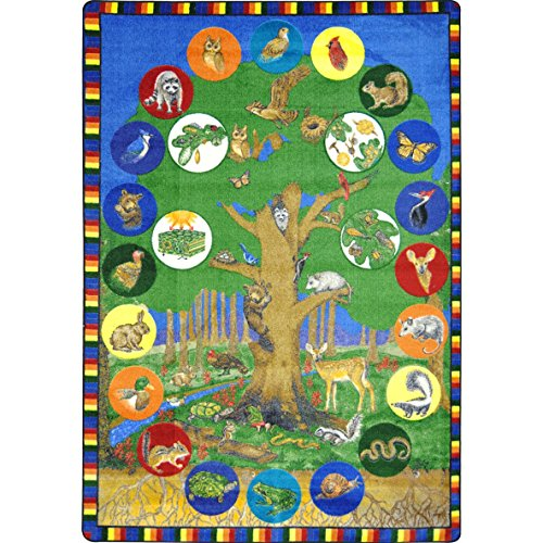 Joy Carpets Kid Essentials Geography & Environment Tree of Life Rug, Multicolored, 5'4