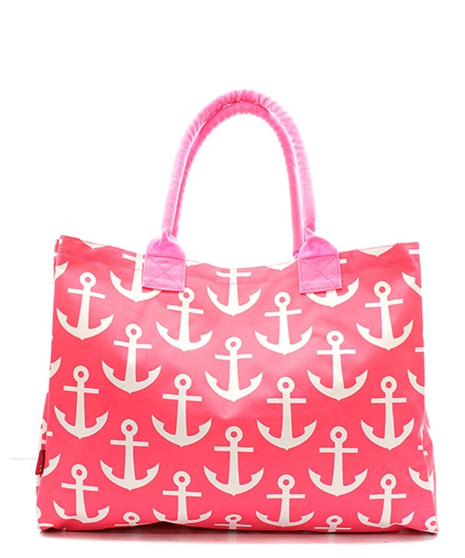 Nautical Anchor Print Canvas Large Tote Handbag