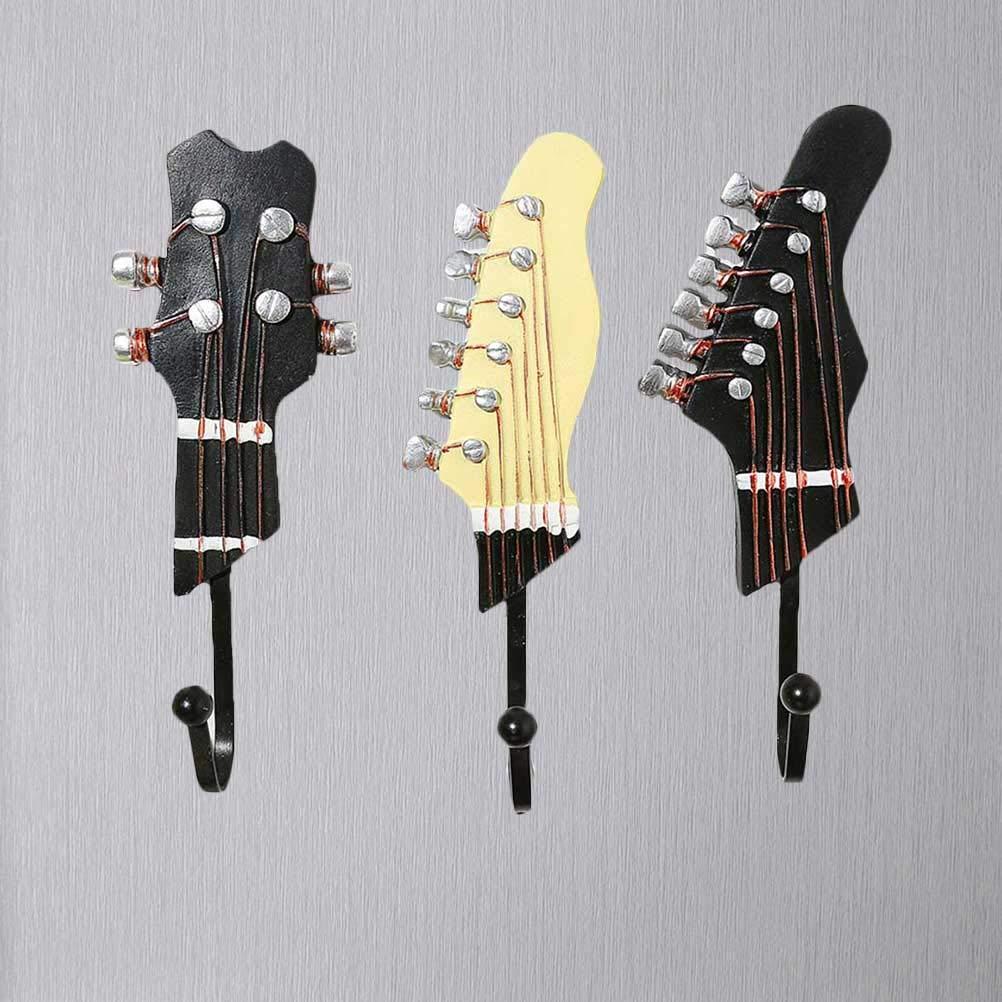 Healifty Ganci Appendiabiti in Resina Forma chitarra per Cappotti Vestiti Asciugamani Cappello Borsa Ganci multifunzione 3 Pezzi