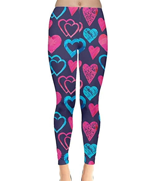 64c74914faa17 CowCow Womens Heart Shapes Digital Printed Stretch Leggings, XS-5XL ...