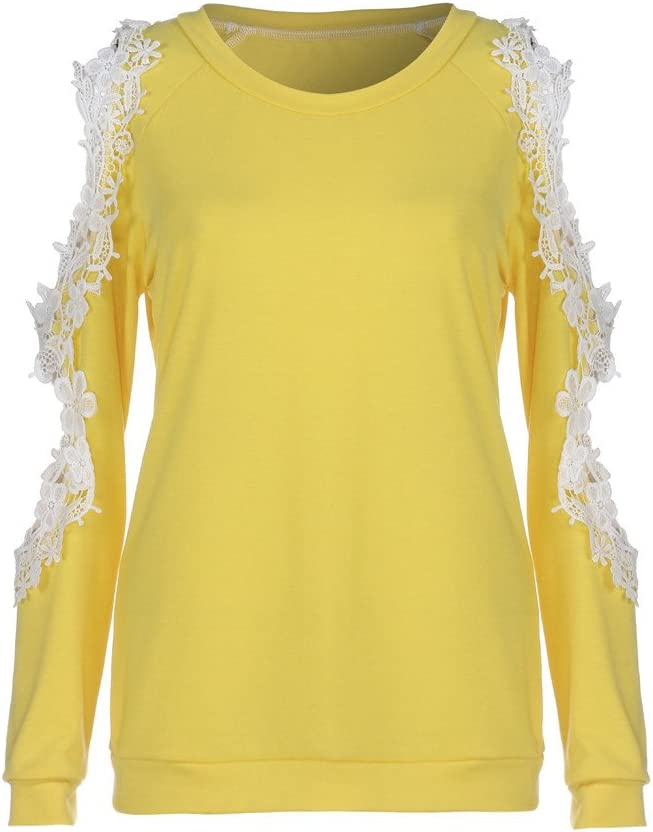 Camisas Mujer Blusa Suelta Hombro sin Tirantes Casual Camiseta Manga Larga Ajustado Encajes Tops Pullover Tallas Grandes Jers/éis T-Shirt tee Oto/ño e Invierno riou