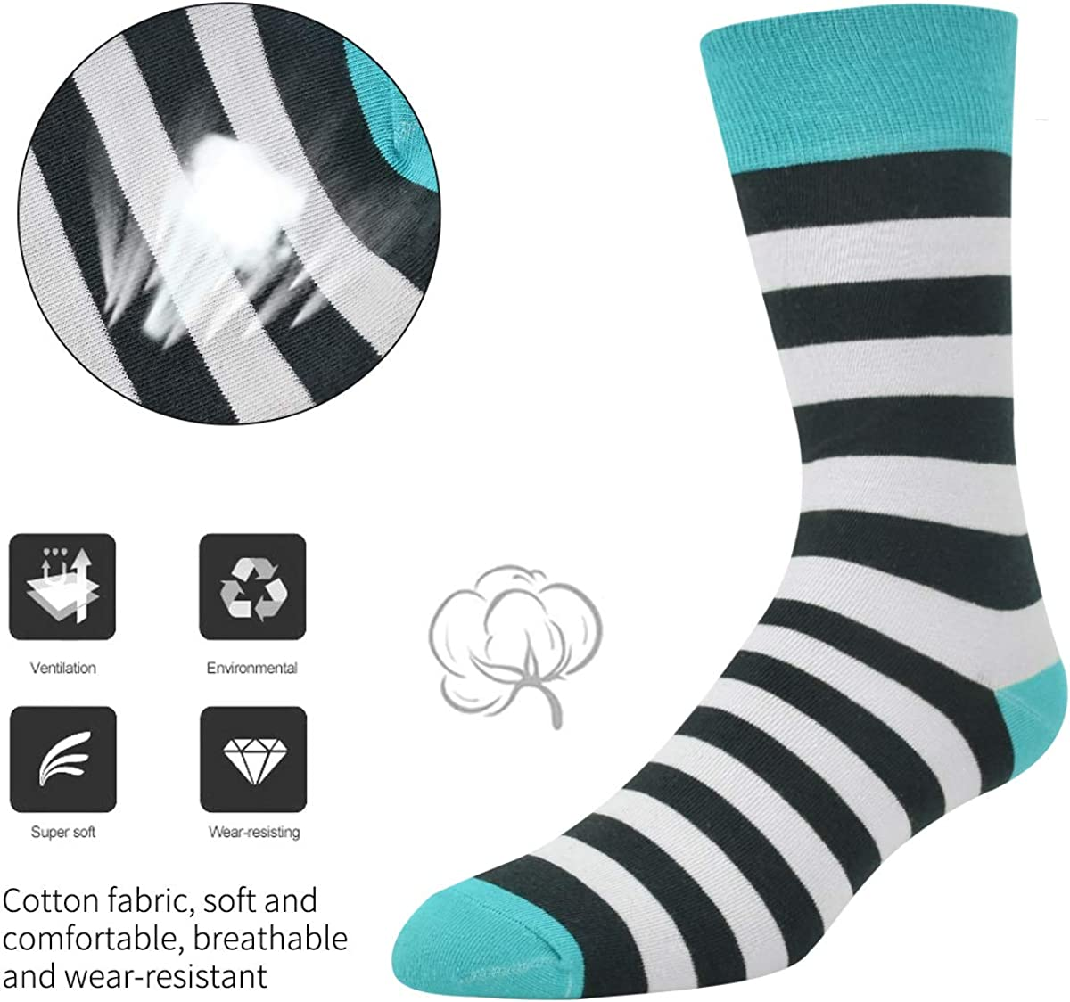 Seafirst Mens Dress Socks Colorful Stripe Crew Socks Combed Cotton Socks for Business or Casual Wear
