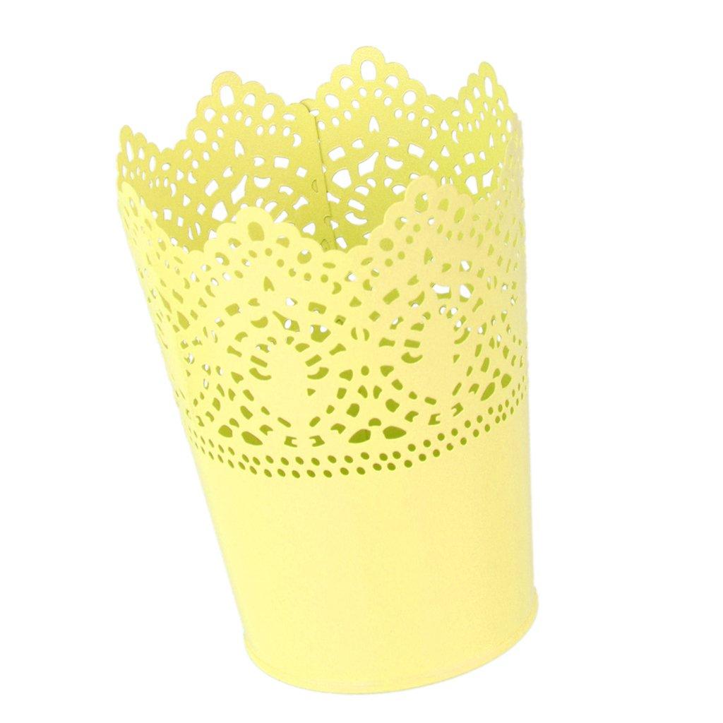 Homyl Multifonction Pot de Fleur en M/étal Support Stylo Organisateur de Pinceau de Maquillage Artisanat Blanc