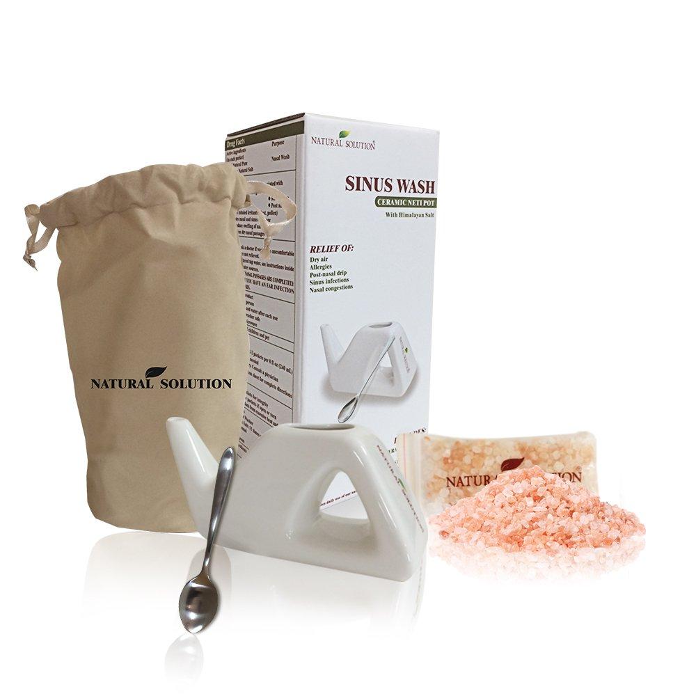 NATURAL SOLUTION Himalayan Pink Salt Neti Pot, 13.6 OZ by Natural Solution
