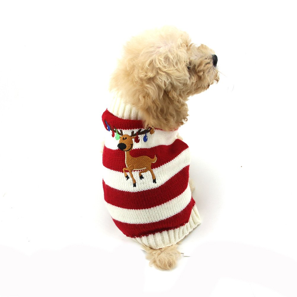 Red XS Red XS NACOCO Dog Sweater Pet Christmas Elk Bells Sweaters Halloween Reindeer for Small Dog and Cat (XS, Red)