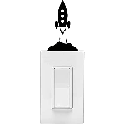 Rocket Ship on Light Switch Children's Room's Vinyl Wall Decal (3 X 5 Inches): Home Improvement