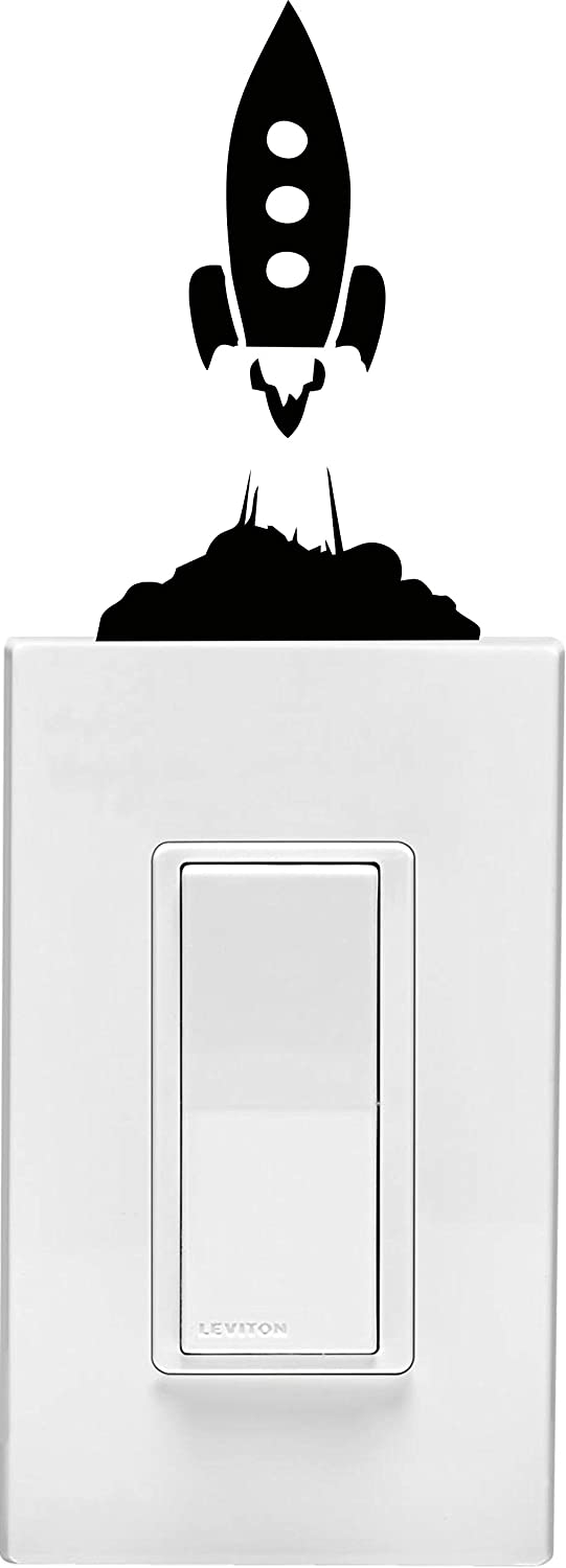 Rocket Ship on Light Switch Children's Room's Vinyl Wall Decal (3 X 5 Inches)