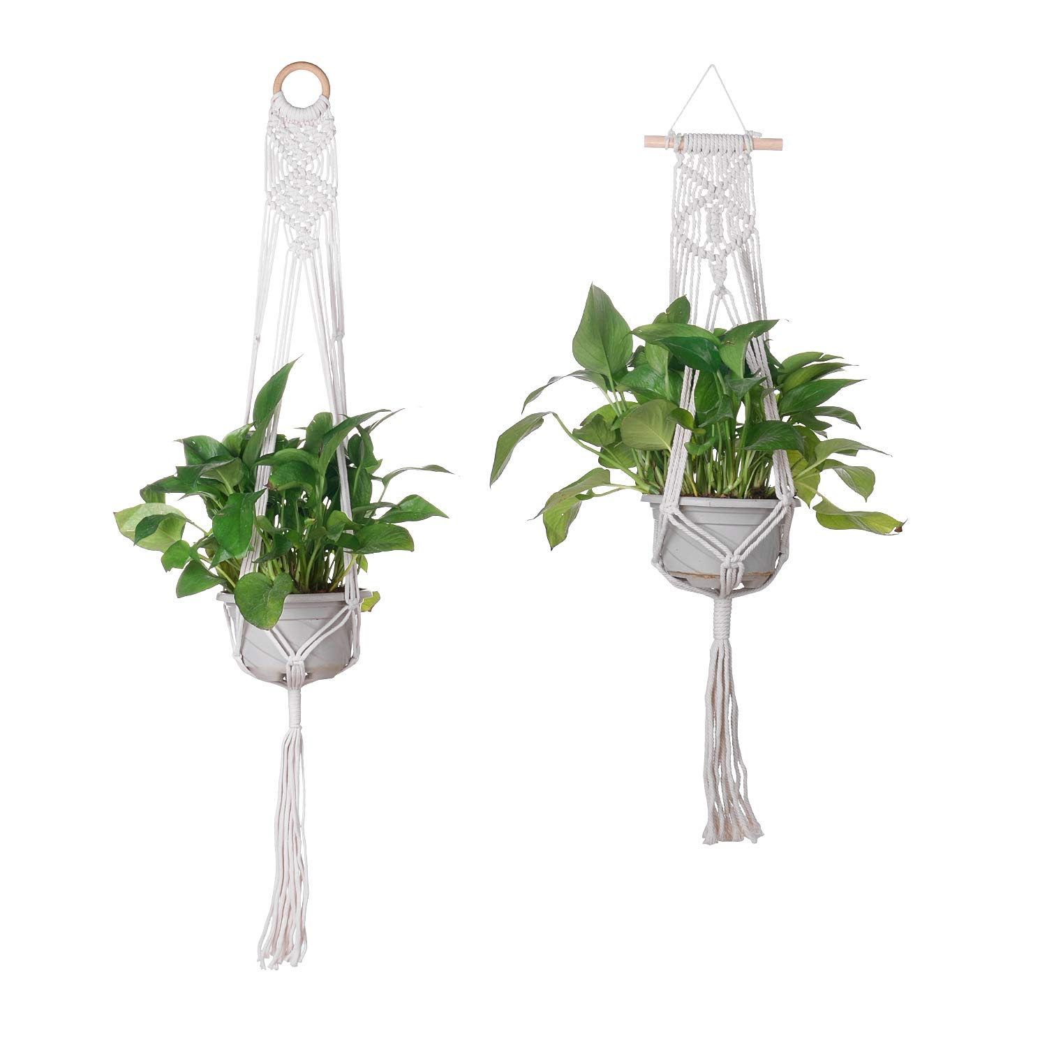 Rope Hanging Planter, Set of 2pcs Macrame Plant Hanger Cotton Rope Indoor Cotton Rope Hanging Planter Basket, Large Small Wall Hanging Plant Holders, Indoor Macrame Plant Hanger 2PCS