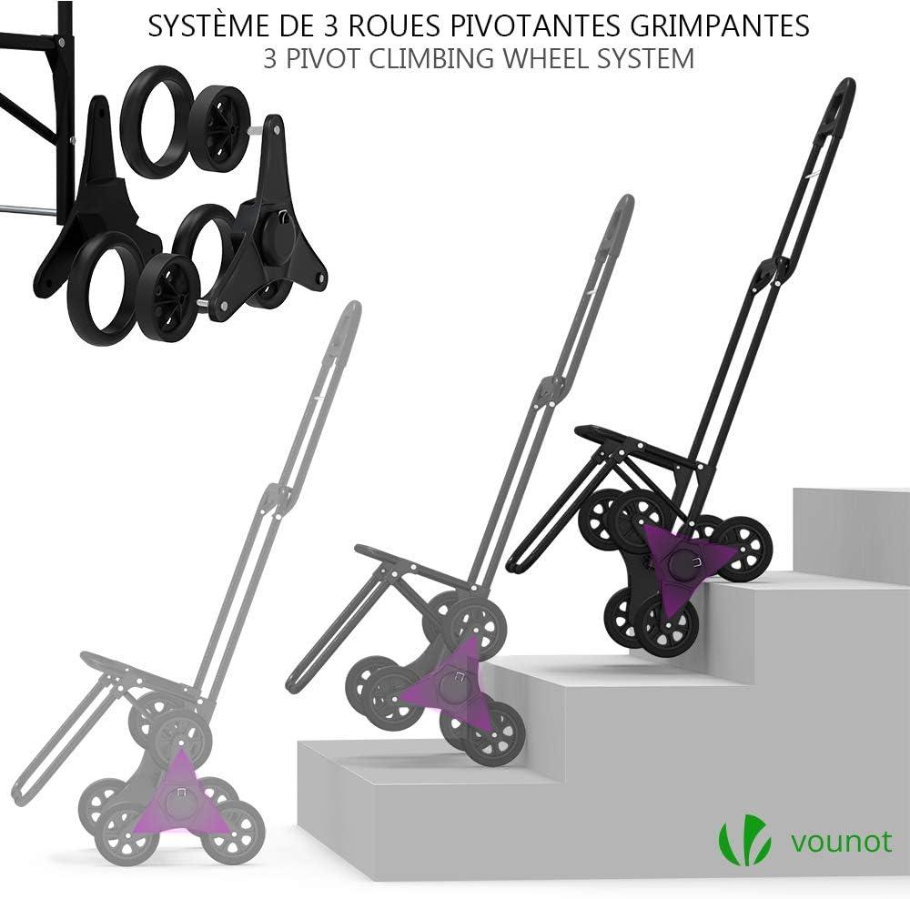 VOUNOT Chariot de Courses Solide Pliable avec Compartiment Isotherme 6 Roues 3 en 1 Sac /à Dos Sac de Rangement Caddie Panier Montant Escalier Grande Capacit/é de 35L Charge Max 30Kg