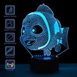 Baby Night Lights Finding Nemo birthday Supplies 3D Optical Illusion Led Visual Table Desk Lamps Decor Sea Blue Party Decorations 7 Colors Light Toys Gifts Bathroom Bedding Decorations