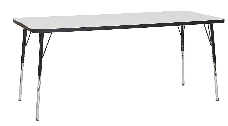 Standard Legs w//Swivel Glides 19-30 H Black Edge//Black Legs ECR4Kids 30 x 72 Rectangular Dry Erase Adjustable Activity Table