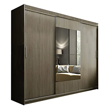 ye perfect choice modern wardrobe ava 1 mirror 3 sliding doors bedroom led option available width - Modern Wardrobe