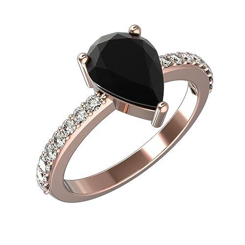 Amazon.com: Pera corte solitario anillos de compromiso de ...
