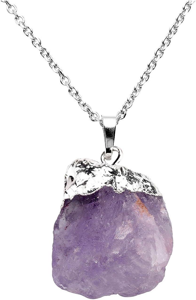 Jovivi - Collar con colgante de piedras preciosas de cristal de curación de cuarzo y amatista natural