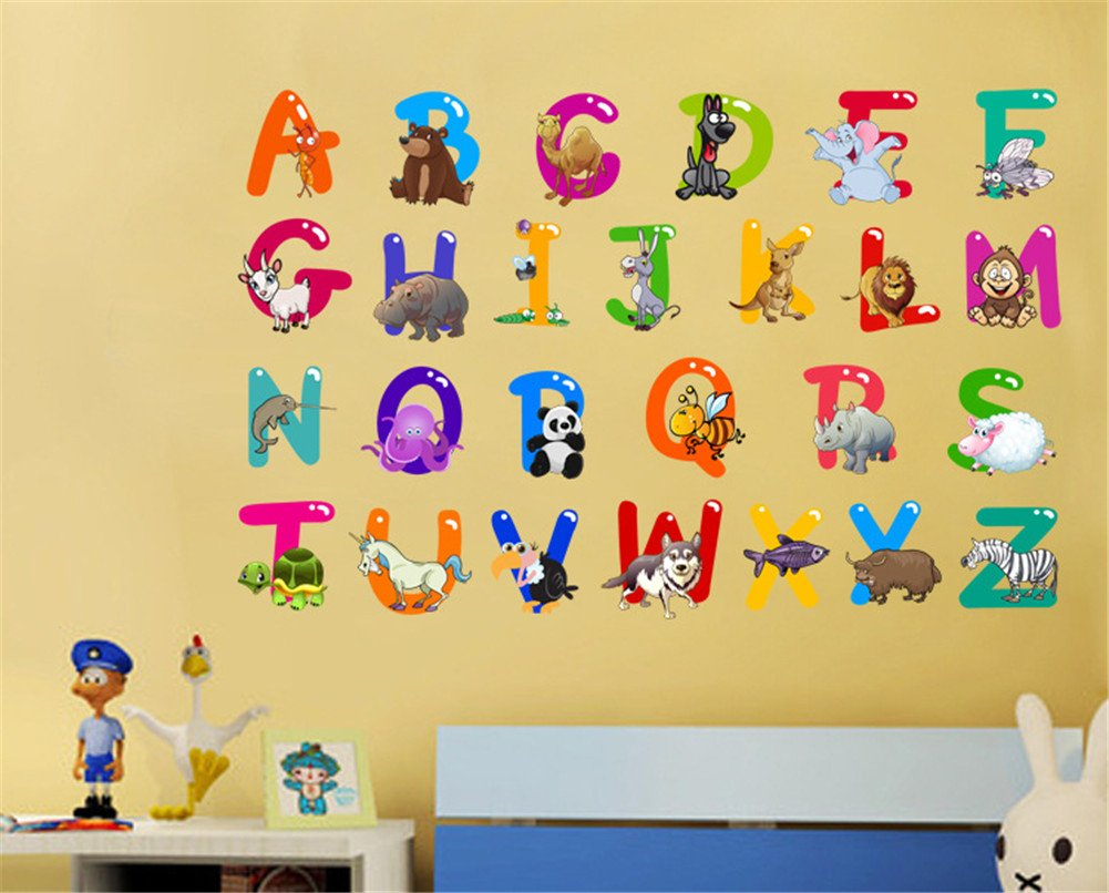 Wall Stickers Animal Alphabet Baby Decorative Peel and Stick Wall ...