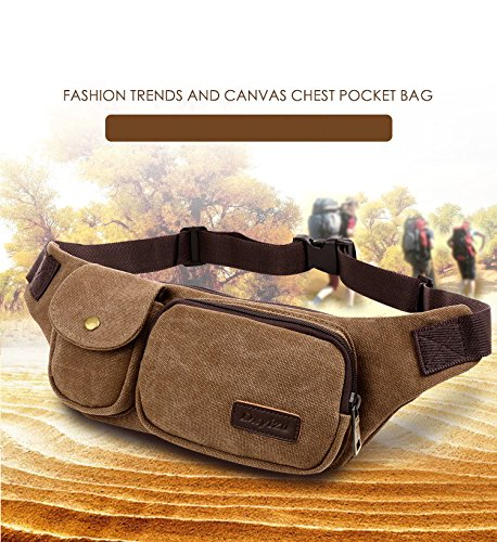 885ab2212fd Dxyizu Small Canvas Multiple Pocket Fanny Pack Tactical Outdoor Sport Waist  Bag Belt for Hiking Climbing Cycling Riding Running Walking Fashion Chest  Bag ...