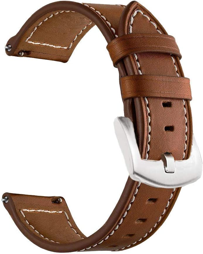 LDFAS Compatible for Fossil 22mm Band, (2 Pack) Leather Strap with Black Buckle Compatible for Fossil Gen 5 Carlyle/Julianna/Garrett HR, Q Explorist, Gen 5E 44mm, Sport 43mm, Smartwatch, Brown+Black