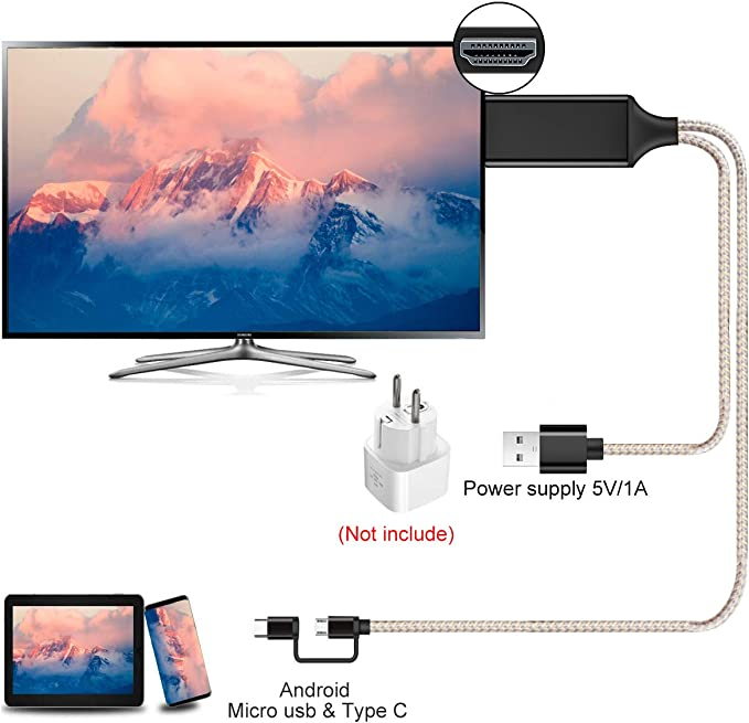 Kdely 4K@60Hz USB Type-C Micro a 4K Cable HDMI(2M ), convertidor MHL a HDMI, Compatible con Pro-Pad/Pod Touch 5e/ Pod Touch 6e, Samsung Galaxy S10/S9/S8/Nota 8, Huawei P20 /Pro / P30 /
