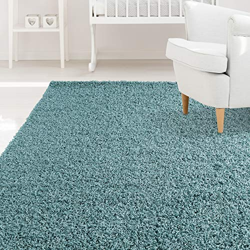 iCustomRug Affordable Shaggy Rug Dixie Cozy & Soft Kids Shag Area Rug Solid Color Ocean Blue, for Children's Play Area, Bedroom or Nursery Carpet 5 Feet x 7 Feet (5' x 7')