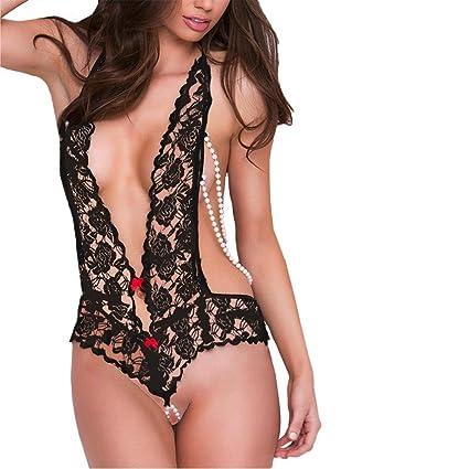 28eb5aec8 Kstare Women Deep V Lingerie See-Through Backless Open Crotch Teddy  Temptation Babydoll Mini Bodysuit (M