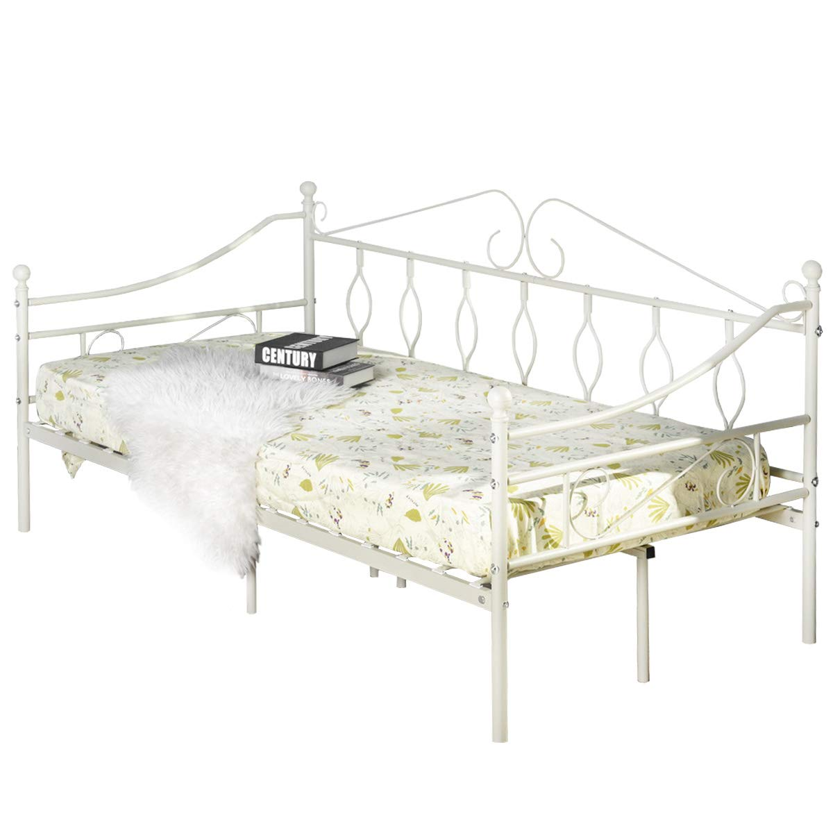 Aingoo Wohnzimmer Tagesbett Metallbett mit Bettrahmen für Schlafzimmer Wohnzimmer Aingoo Balkon (Schwarz) afdad2
