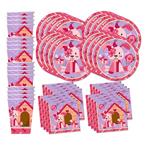 Pink Girl Puppy Dog Birthday Party Supplies Set Plates Napkins Cups Tableware Kit for 16 by Birthday Galore Girl Puppy Dog