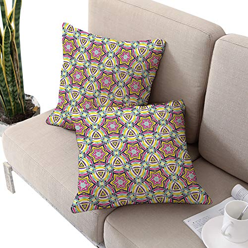 90s Square chaise lounge cushion cover ,Abstract Pattern Vibrant Geometric Art Print with Stars Flowers in Neon Colors Purple and Yellow W24