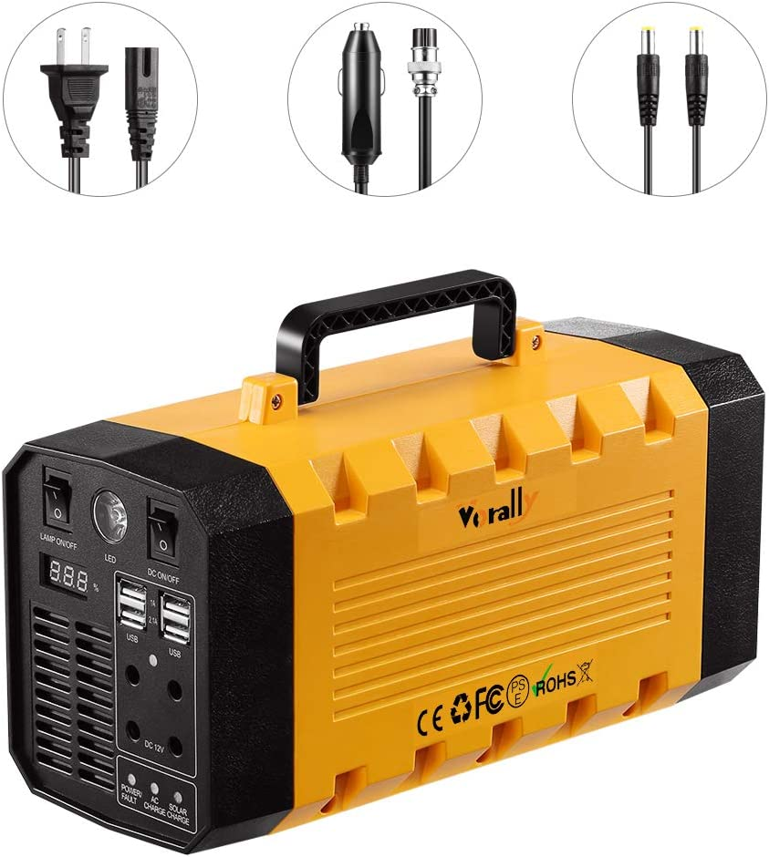 Vorally Portable Generator Power Station 288Wh 500W Rechargeable Lithium Battery Pack Solar Generator with 110V AC Outlet, 4 DC 12V, 4 USB Port LED Lights Backup Power supply for CPAP Camping Home Eme