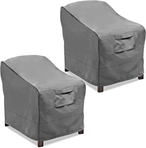 Vailge Patio Chair Covers, Lounge Deep Seat Cover, Heavy Duty and Waterproof Outdoor Lawn Patio Furniture Covers (2 Pack - Medium, Grey)