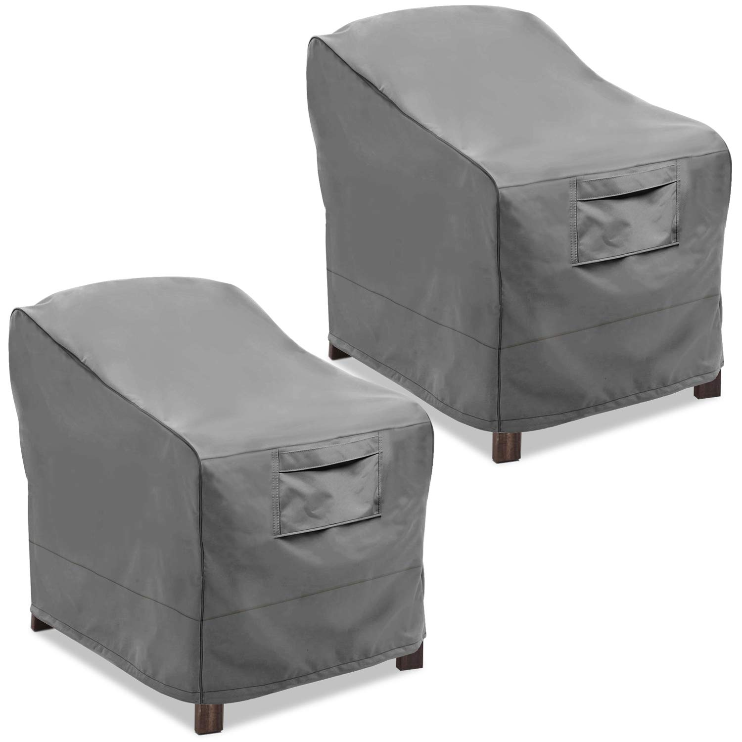 Vailge Patio Chair Covers, Lounge Deep Seat Cover, Heavy Duty and Waterproof Outdoor Lawn Patio Furniture Covers (2 Pack - Large, Grey) by Vailge