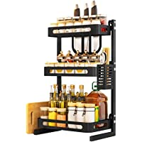 Kitchen Spice Rack Spice Jars Bottle Shelf Utensils Holder Countertop Storage Organizer with Chopping Board Rack 3pcs…
