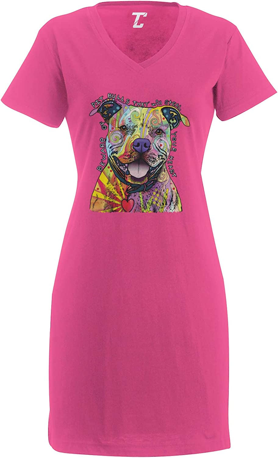 Tcombo Beware of Pitbulls They Will Steal Your Heart Womens Nightshirt