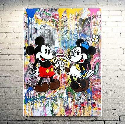 Faicai Art Classic Street Art Mickey Mouse Paintings Abstract Banksy Graffiti Canvas Wall Art Colorful Pop Art Prints Posters Modern Wall Decor
