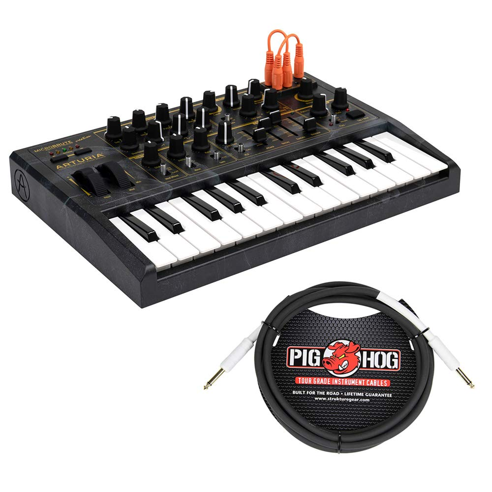 Arturia MicroBrute Analog Synthesizer Creation Edition with Pig Hog 10ft 1/4'' 8mm Instrument Cable Bundle