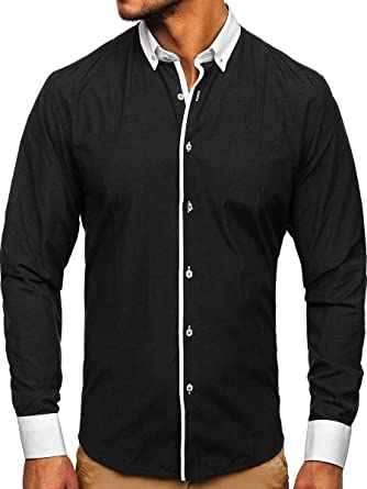 BOLF Hombre Camisa Elegante Abotonada Estilo CasualAbotonada Estilo Casual Mix 2B2