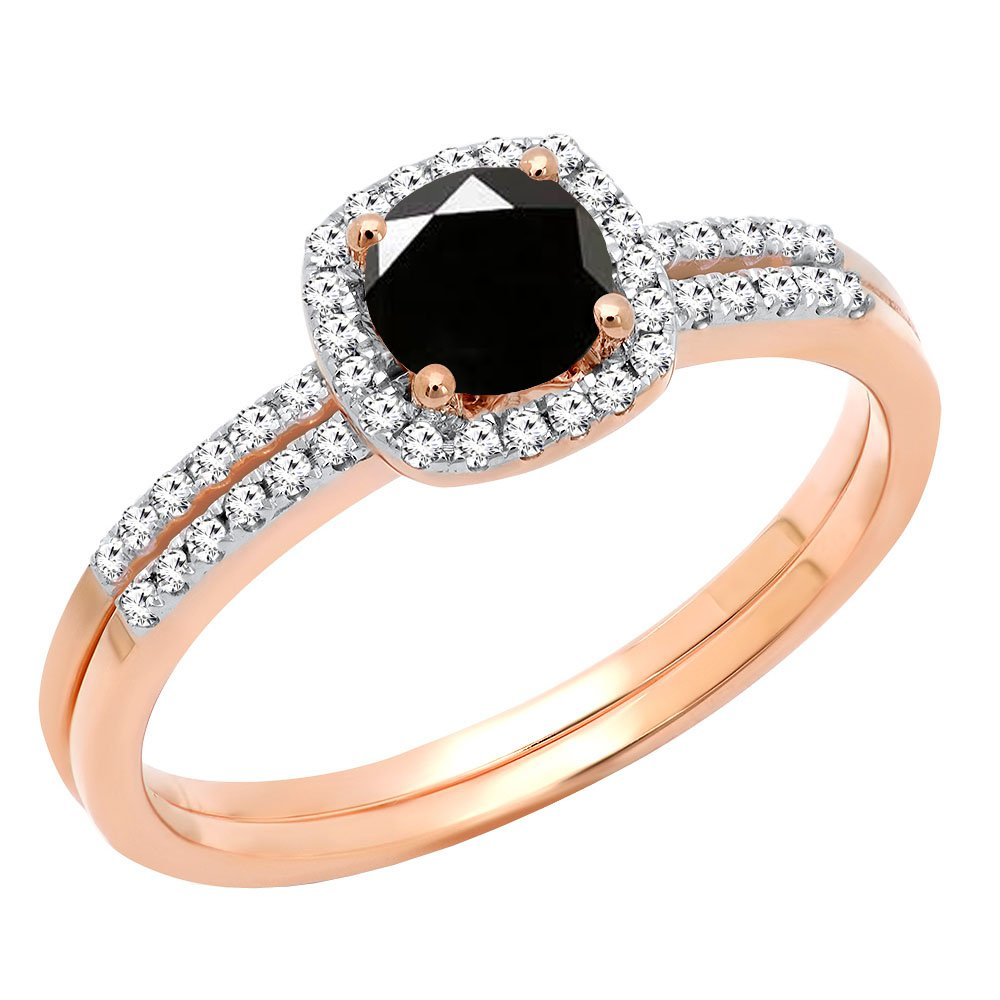 Dazzlingrock Collection 0.75 Carat (ctw) 10K Black & White Diamond Bridal Engagement Ring Set 3/4 CT, Rose Gold, Size 7 by Dazzlingrock Collection