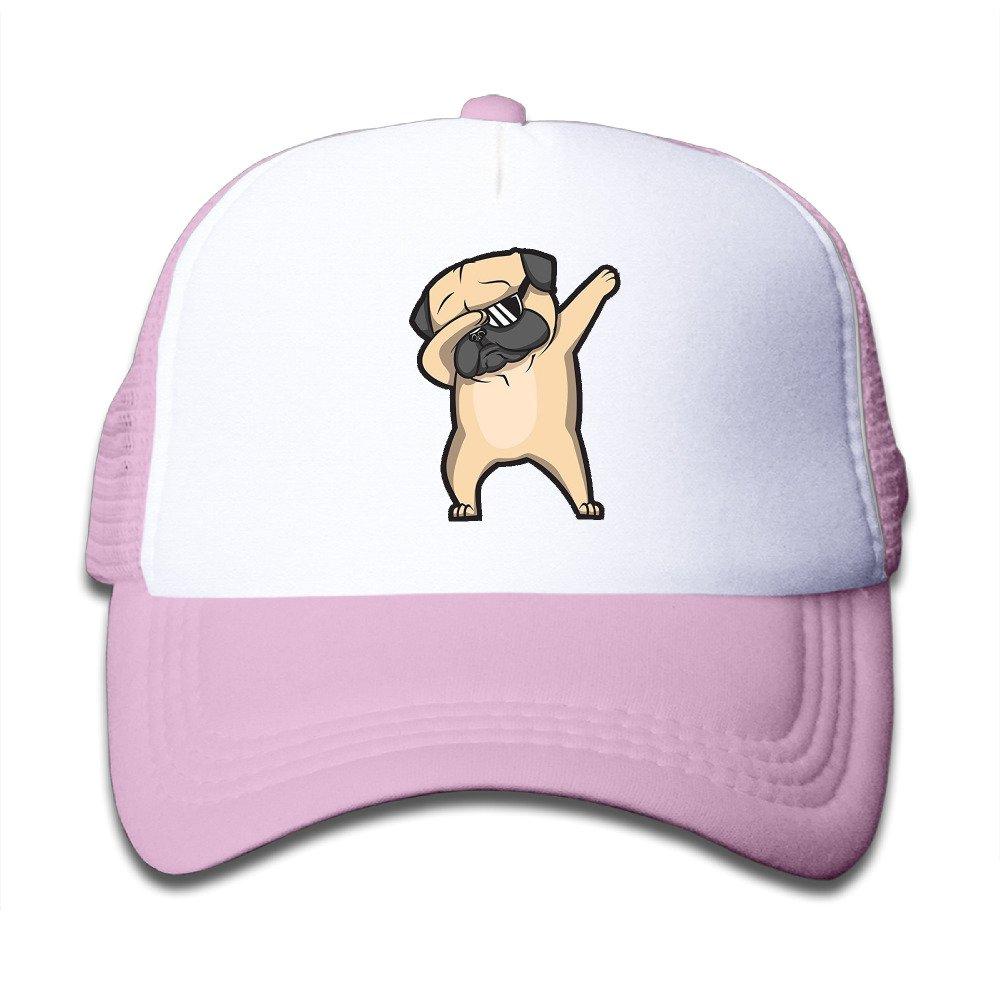 Dabbing Pug Plain Hat Adjustable Mesh Cap For Child