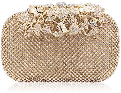 - Dexmay Luxury Flower Women Clutch Purse Rhinestone Crystal Evening Bag for Wedding Party Gold