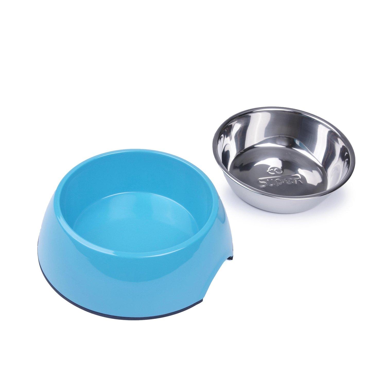 SuperDesign 犬猫向けのステンレスボウル 犬用ボウル 取り外し 可能ご飯とお水入れ両用 ペット用品 餌入れ 滑り止め 給餌器 食器 B01FH3B1HU ブルー 350 ml 350 ml|ブルー