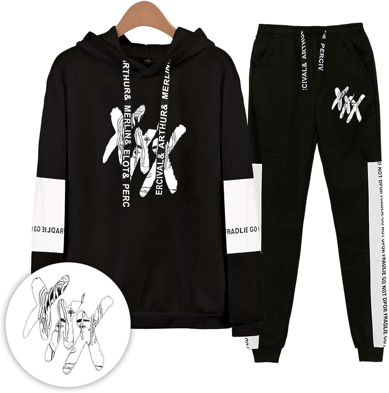 Xxxtentacion Hoodies Sweatshirts and Sweatpants Men Two Piece Set Hooded Suit White XL