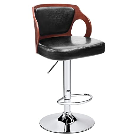 Homall Bar Stool Walnut Bentwood Adjustable Height Leather Bar Stools with Black Vinyl Seat Extremely Comfy  sc 1 st  Amazon.com : real leather kitchen bar stools - islam-shia.org